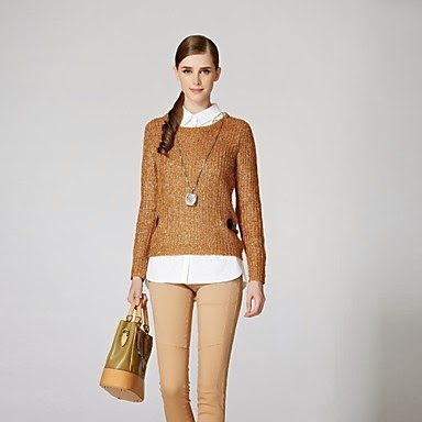 ladies camel O-neck designer sweater