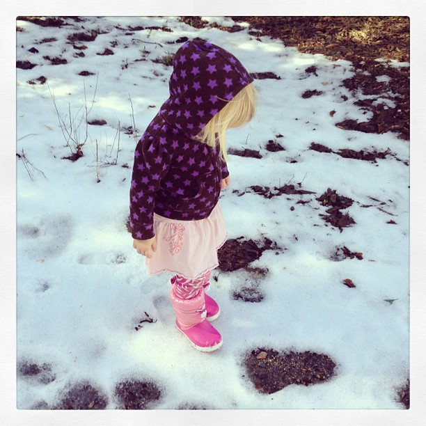 little kid in the snow, pink snow boots