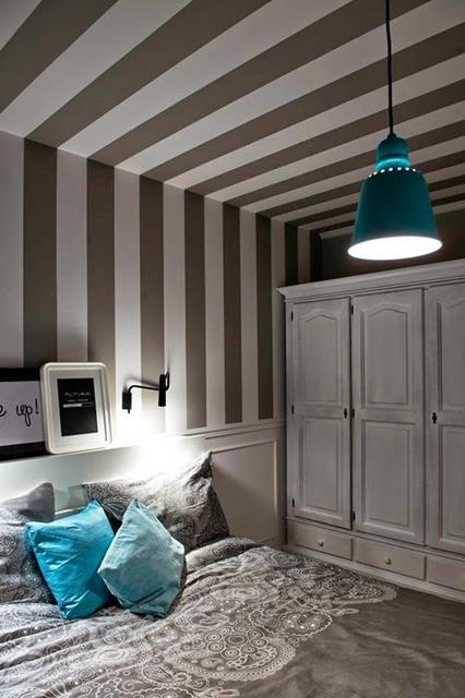 quarto cinza com azul