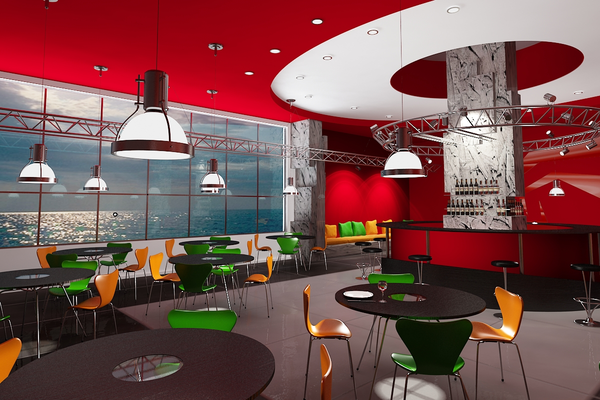 Cafe interior design best interior for Red modern decor