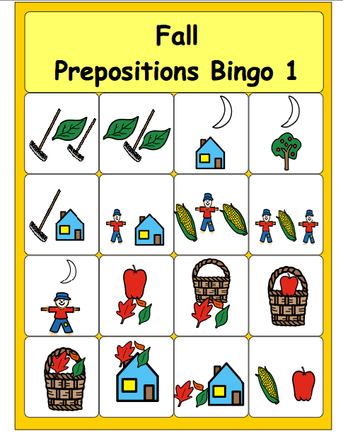 photo regarding Fall Bingo Printable identify Chapel Hill Snippets: Drop Prepositions Bingo---absolutely free printable