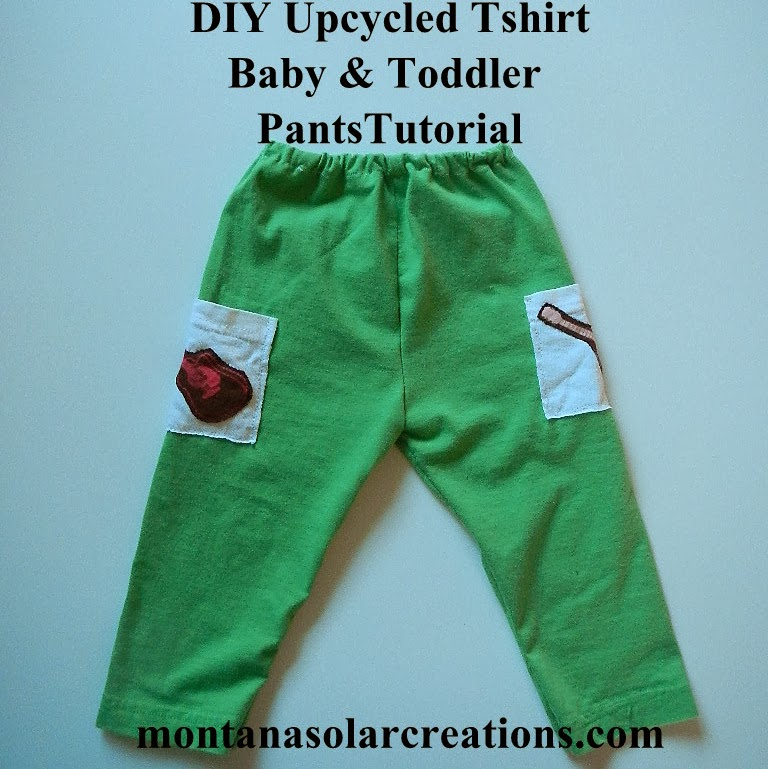 DIY Upcycled Tshirt Baby and Toddler Pants Tutorial @MontanaSolarCreations