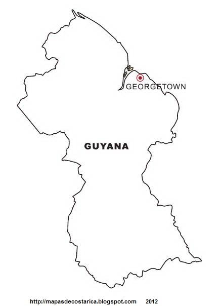Mapa de GUYANA para pintar