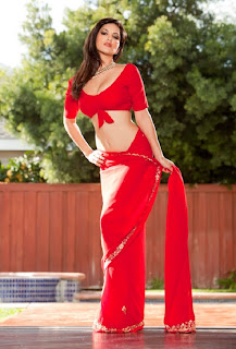 Sunny Leone's  Wearing Indian Red Saree