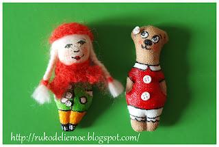 куколка и мишка брошки