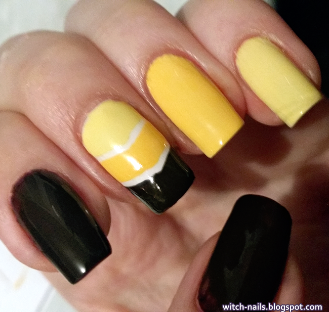 brown yellow nails with white stripes