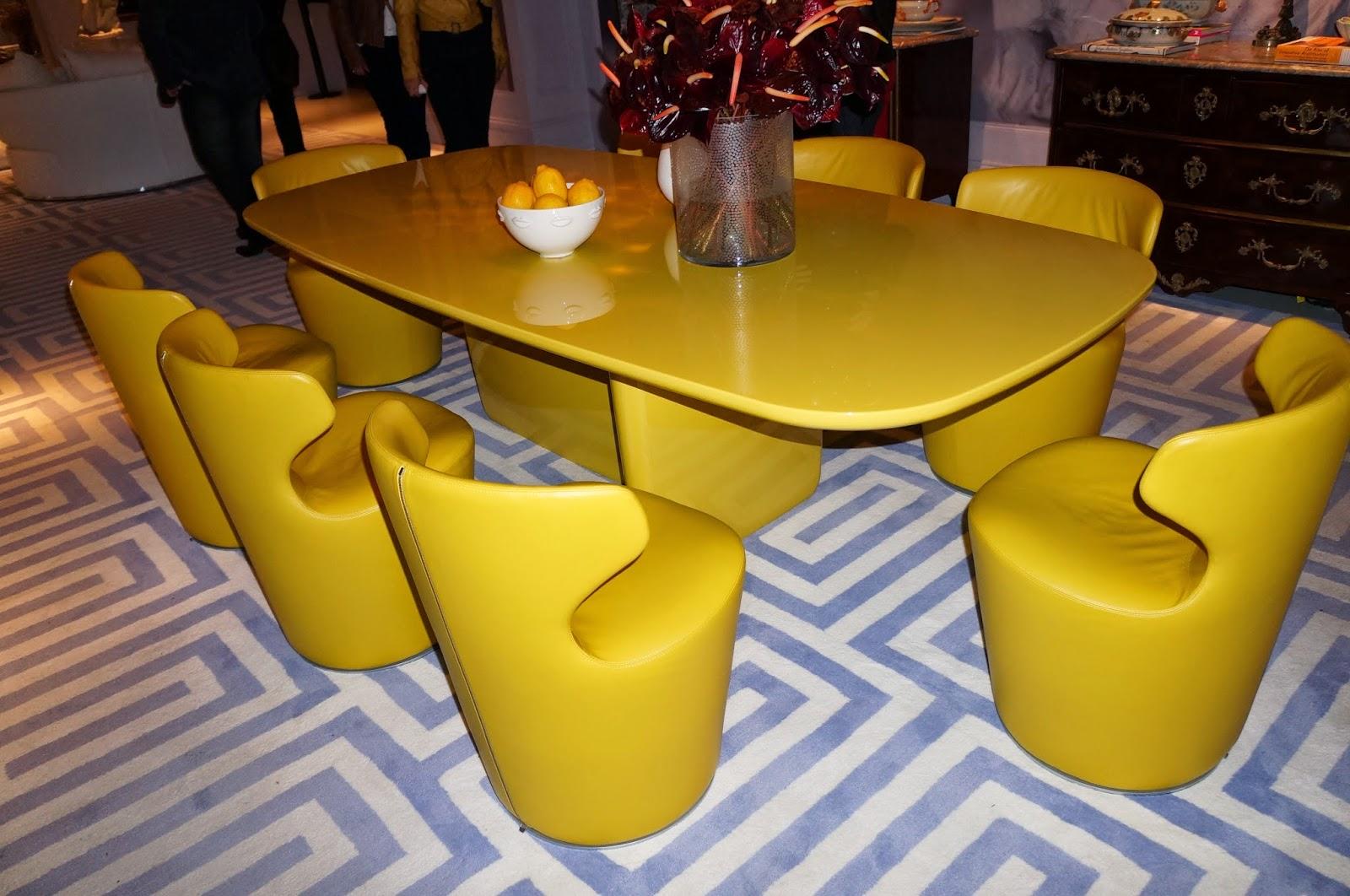 "ambiente ""sala de jantar e lounge"" - David Bastos - mesa de jantar amarela - Casa Cor SP 2014"