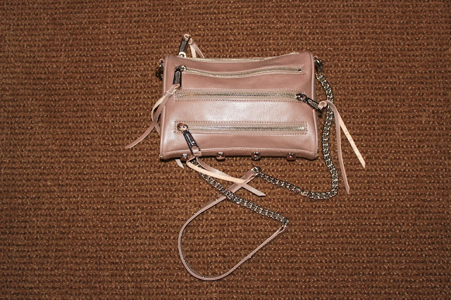 rebecca, minkoff, bag, purse, mini, 5, five, zip, taupe, tan