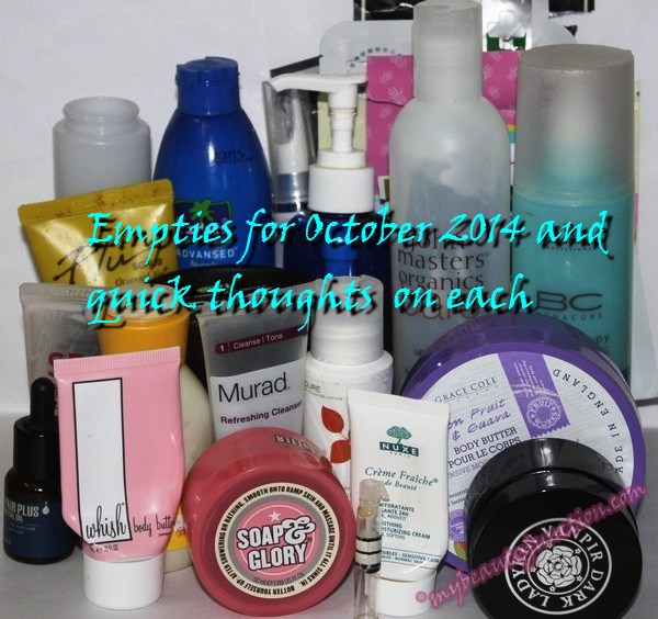 Beauty products emptied in October 2014