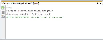 Contoh Syntax Penanganan Eksepsi di Java