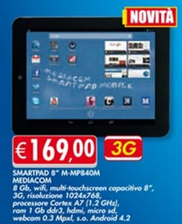A 169 euro viene proposto il tablet 3G Android 4.2 Mediacom MP840M