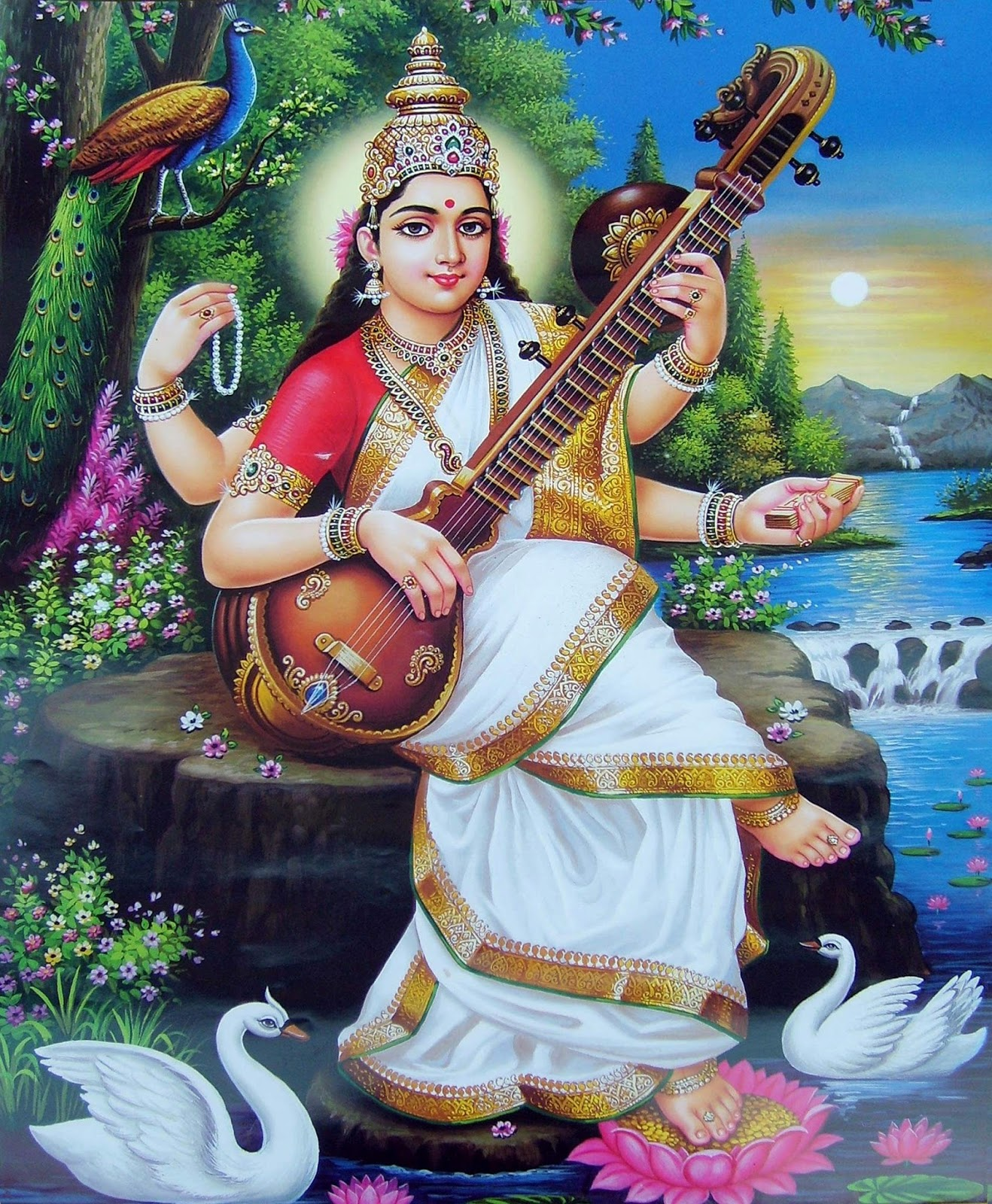 picture collection hindu goddess saraswati maa wallpapers