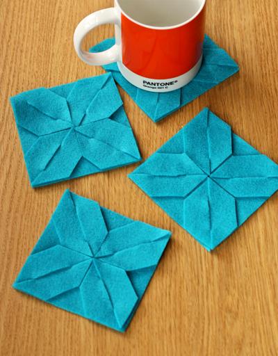 Modular felt coasters DIY