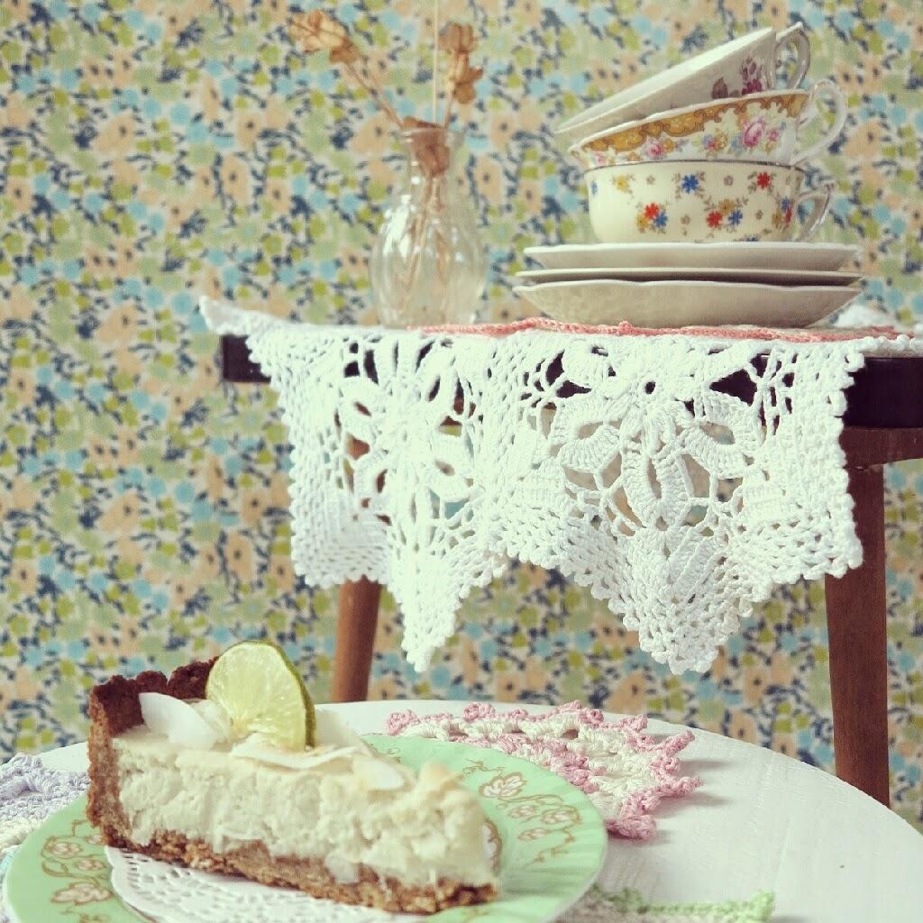 byHaafner, vintage teacups, doilies, crochet, vegan coconut pie