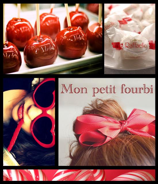 rouge, sucre d'orge, lunettes, noël, belles images, raffaelo, ruban, headband, montage, pommes d'amour, rouge passion, santa claus