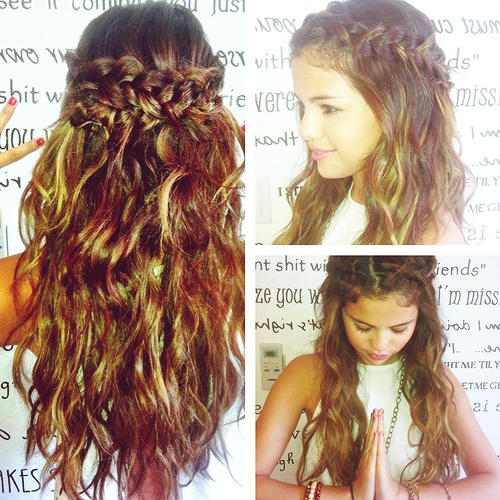 loved Selena s hairstyle  Selena Gomez Wavy Hair With Braid