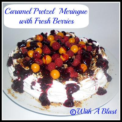 Caramel Pretzel Meringue with Berries