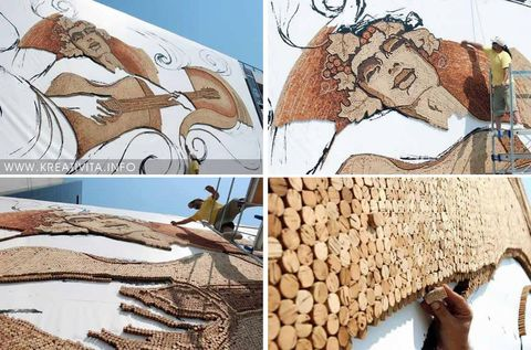 The world's biggest corks mosaic