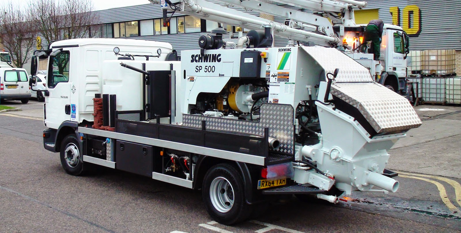 One of the Schwing Stetter (UK) truck mounted stationary concrete pumps with 'all the trimmings'