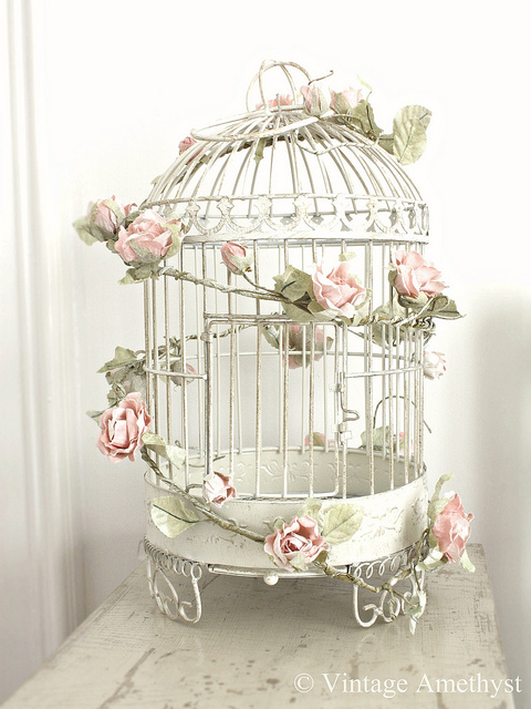 Birdcages with flowers on pinterest vintage