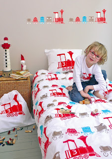 Loco Boy's Bedding. Shown in a child's bedroom.
