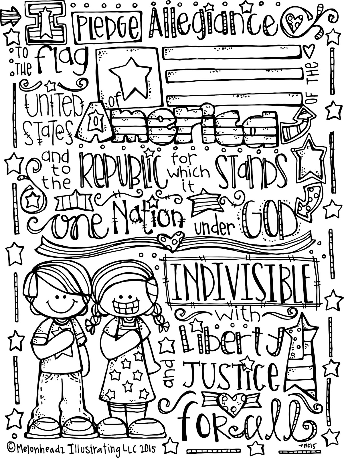 4th Of July Coloring Pages Pdf : Melonheadz lds illustrating happy th of july