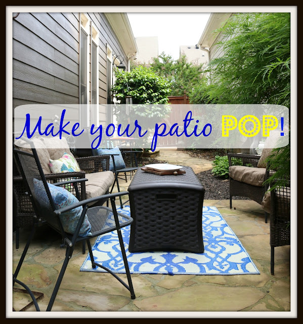 patio with neutral basics and colorful accessories