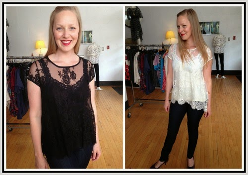 Lace Flare Top by Fifteen-Twenty, worn with a Lace Camisole by M Rena, and Level 99 Jeans at Folly