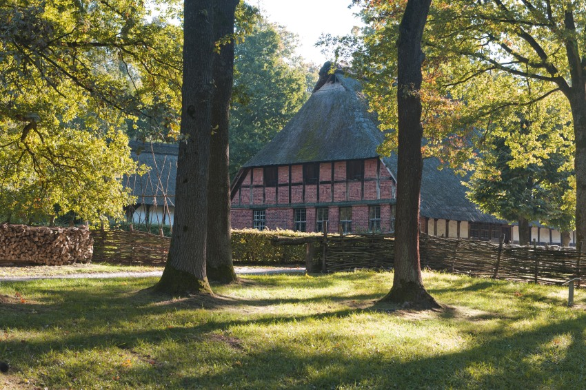 Autumn in a ancient german village. Freilichtsmuseum Detmold.