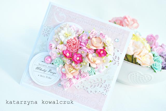 Kartka Ślubna z kwiatowym sercem scrapbooking