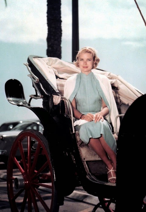 mint dress in carriage - princess grace kelly of monaco style icon
