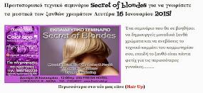 Σεμινάριο για να γνωρίσετε τα μυστικά των ξανθών χρωμάτων Δευτέρα 16 Ιανουαρίου 2015!