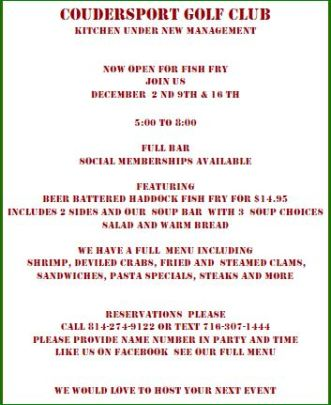 12-2 Fish Fry At Coudersport Golf Club