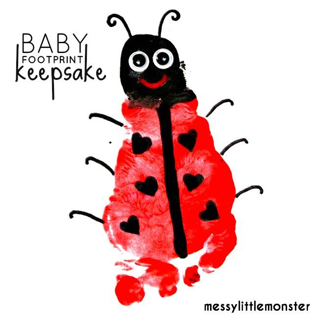 Ladybird/ Ladybug baby footprint keepsake