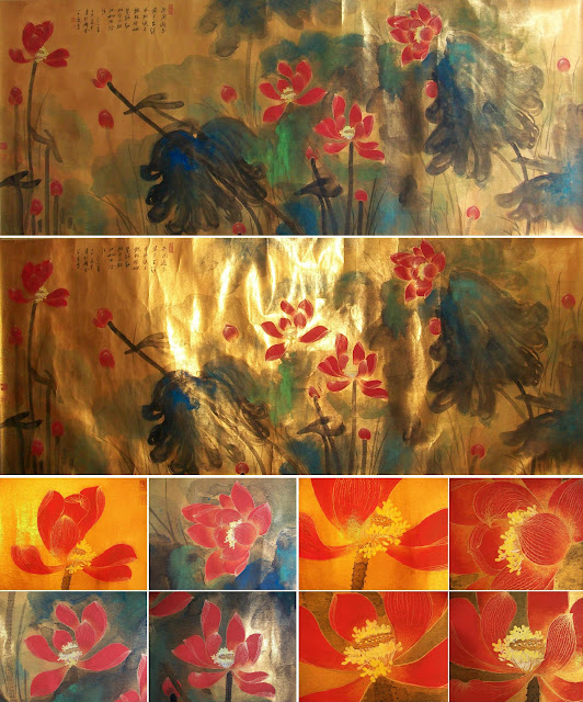 Zhang+Daqian+Splashed+Color+Golden+Outlined+Red+Lotus+on+Gold+Sheet+000.JPG