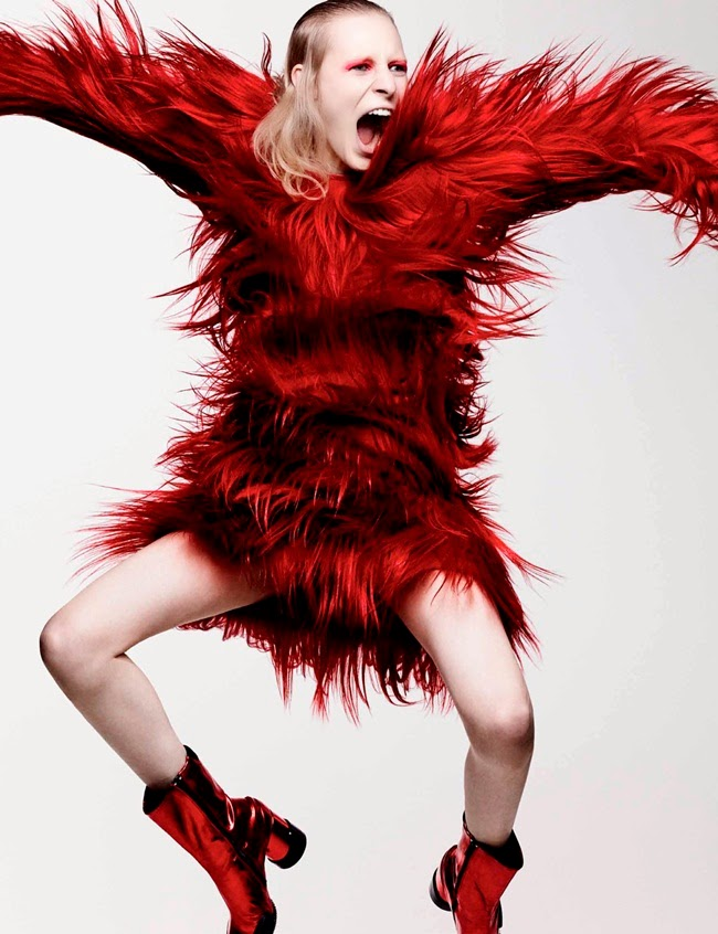 Prada 2014 AW Red Goats Hair Dress Editorials