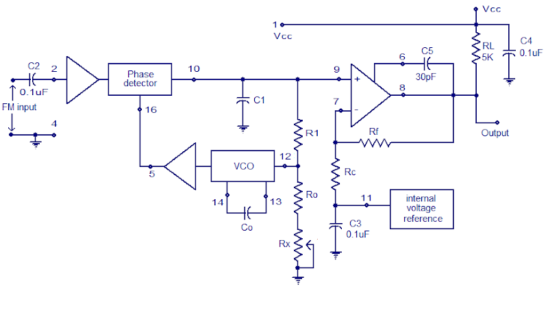 XR2212 PLL FM demodulator