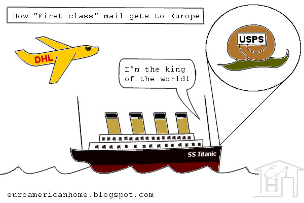 How first-class mail gets to Europe