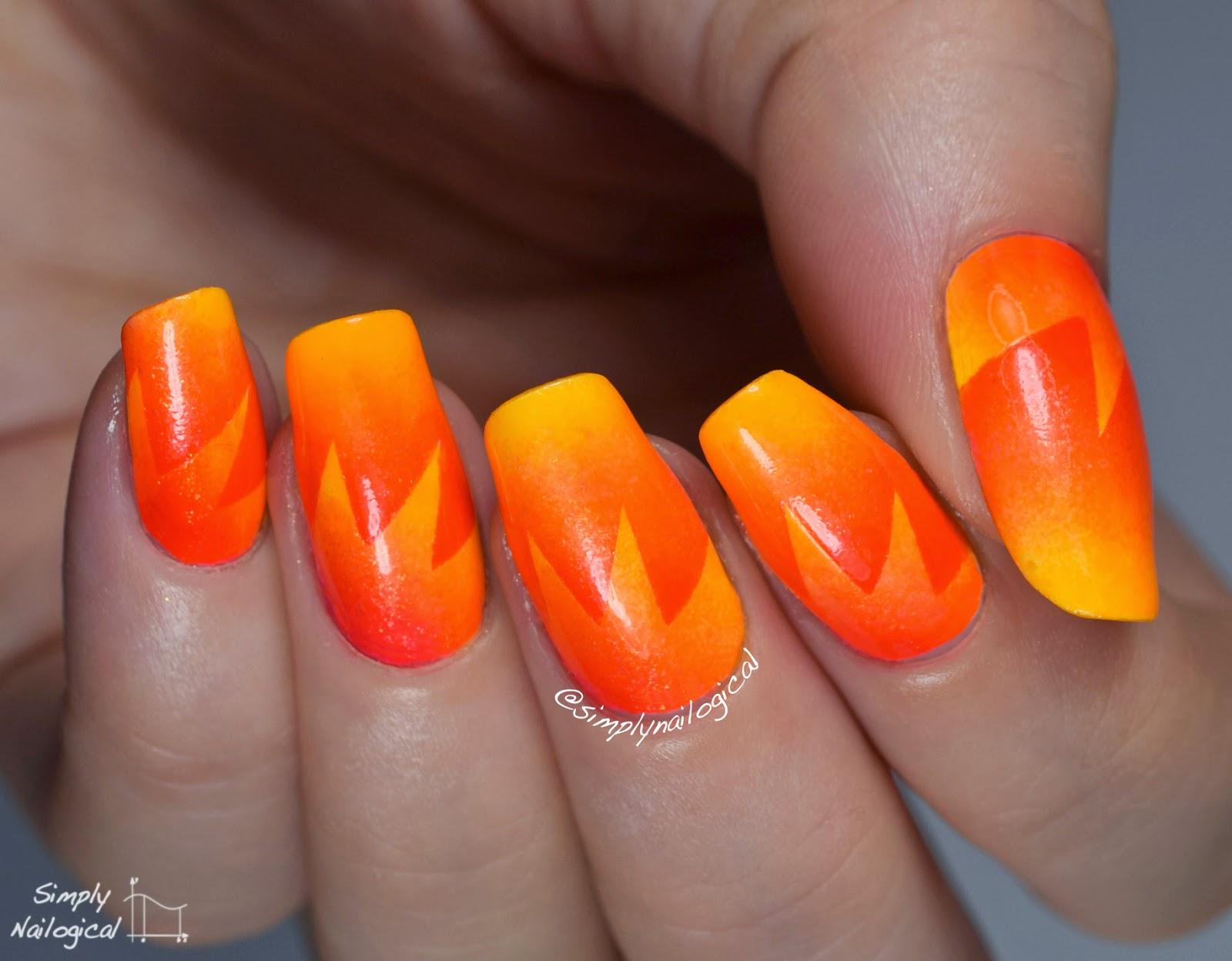 Simply Nailogical: Neon orange starburst scaled gradient