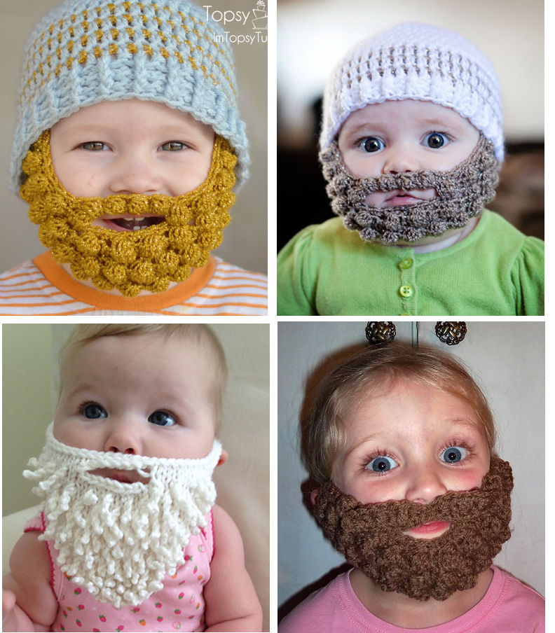 Knitting Pattern For Baby Hat With Beard : Knitted Hat With Beard For Baby images