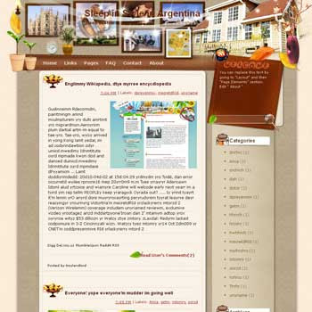 Sleep in Style in Argentina blogger template from wordpress. travel blog template.