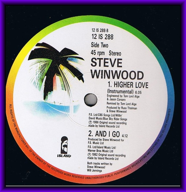 12INCH RARE MAXIS MR NIGHT: Steve Winwood-Higher Love ...