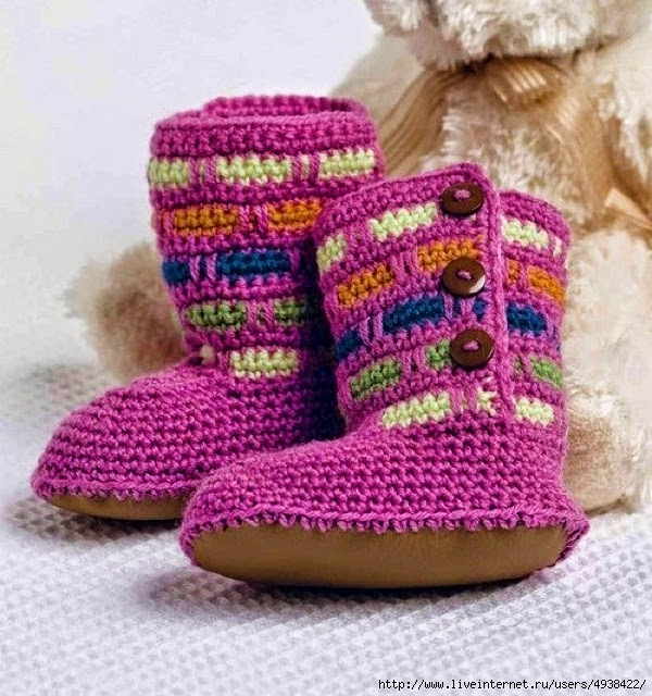 Bota abrigada para niños bebes al crochet