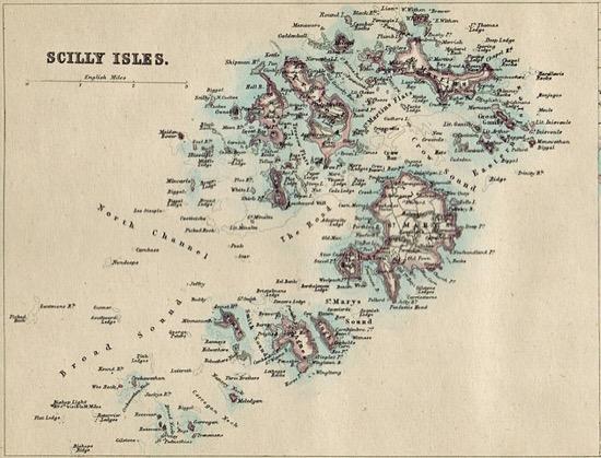 Mapa de las islas Sorlingas (1874)