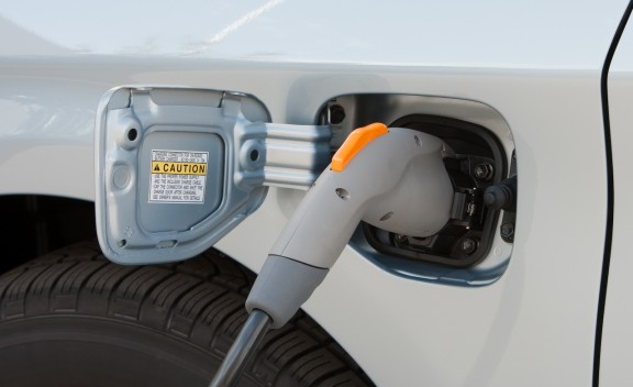 Detail shot of charging the 2012 Toyota Prius Plug-In Hybrid
