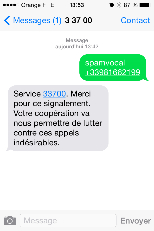 Comment spam sms