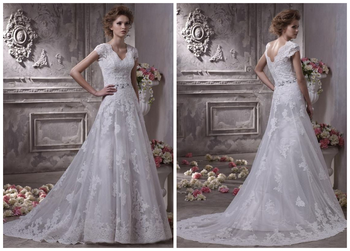 Tulle and Satin V-Neck A-Line Elegant Wedding Dress