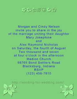 Sample for Writing Informal and Casual Wedding Invitation Wording by