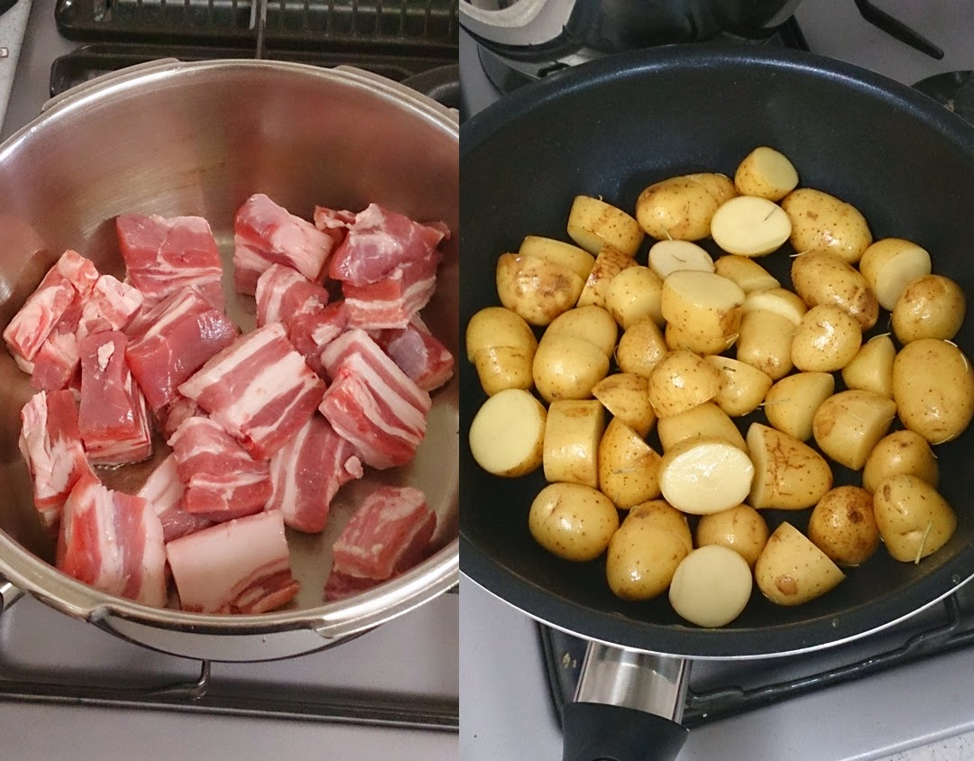 近藤シェフ 港区(白金高輪)に出張料理:お仲間へ感謝の気持ちをパーティーで 豚の赤ワイン煮込み 焼き色 ジャガイモ