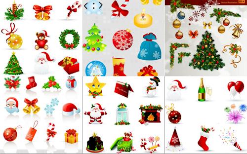 BANCO DE IMGENES Ms de 70 adornos navideos para hacer tarjetas